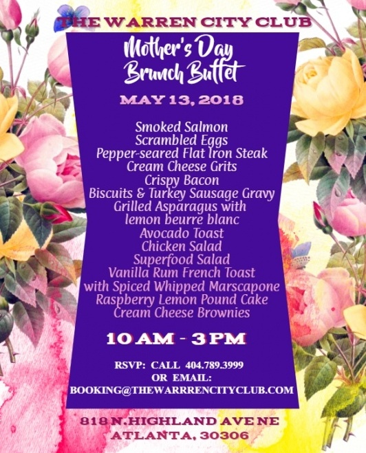 Mother's Day Brunch Buffet Menu 2018
